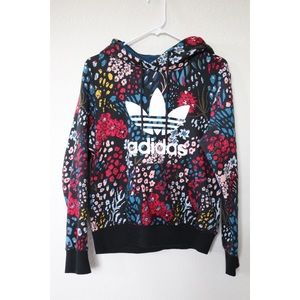 Woman Adidas Originals Trefoil Black Floral Hoodie